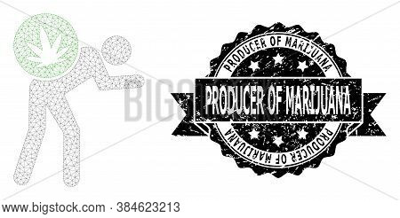 Producer Of Marijuana Rubber Seal Print And Vector Cannabis Courier Mesh Model. Black Stamp Includes