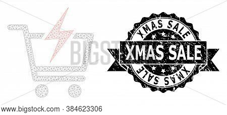 Xmas Sale Rubber Seal Imitation And Vector Instant Shopping Mesh Structure. Black Stamp Seal Contain