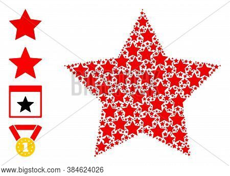 Vector Red Star Composition Is Made With Random Recursive Red Star Icons. Recursive Composition Of R