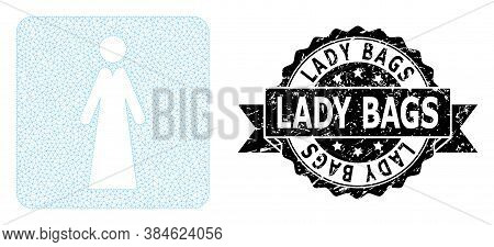 Lady Bags Dirty Seal And Vector Lady Mesh Model. Black Seal Contains Lady Bags Tag Inside Ribbon And