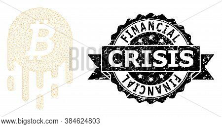 Financial Crisis Unclean Stamp Seal And Vector Melting Bitcoin Mesh Structure. Black Stamp Seal Cont