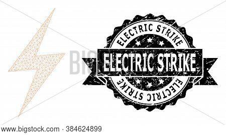Electric Strike Rubber Watermark And Vector Electric Strike Mesh Model. Black Stamp Seal Has Electri