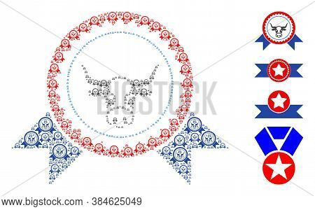 Vector Cow Seal Stamp Ribbons Collage Is Designed From Repeating Self Cow Seal Stamp Ribbons Icons.