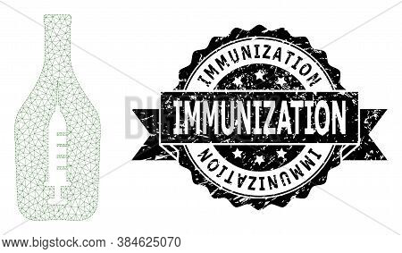Immunization Scratched Stamp Seal And Vector Narcotic Alcohol Mesh Model. Black Stamp Seal Has Immun