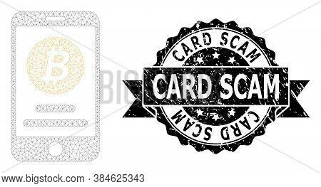 Card Scam Corroded Stamp Seal And Vector Mobile Bitcoin Account Mesh Structure. Black Stamp Seal Inc