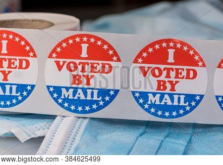I Voted By Mail Sticker On Protective Face Mask For Absentee Ballot Or Mail-in Voting In The Preside