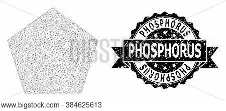 Phosphorus Scratched Stamp Seal And Vector Filled Pentagon Mesh Model. Black Stamp Has Phosphorus Ti