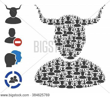 Vector Horned User Composition Is Done From Repeating Recursive Horned User Icons. Recursive Collage