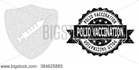 Polio Vaccination Unclean Seal Imitation And Vector Shield Vaccine Mesh Structure. Black Stamp Seal