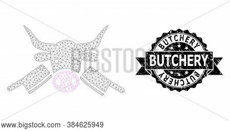Butchery Grunge Stamp Seal And Vector Butchery Mesh Model. Black Stamp Seal Includes Butchery Title