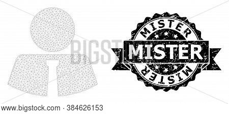 Mister Grunge Seal And Vector Mister Mesh Structure. Black Seal Has Mister Caption Inside Ribbon And