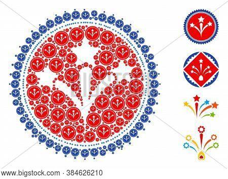 Vector Fireworks Seal Stamp Composition Is Designed With Scattered Recursive Fireworks Seal Stamp Ic