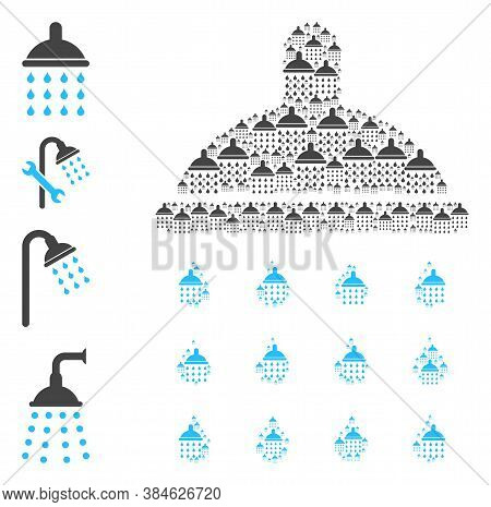 Vector Shower Drops Composition Is Made With Repeating Recursive Shower Drops Elements. Recursive Co