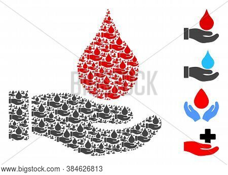 Vector Blood Donation Hand Mosaic Is Designed Of Randomized Recursive Blood Donation Hand Icons. Rec