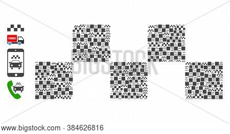 Vector Taxi Chess Logo Mosaic Is Designed With Repeating Recursive Taxi Chess Logo Icons. Fractal Mo