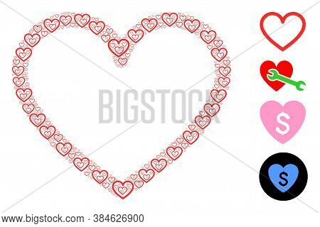 Vector Contour Heart Composition Is Designed Of Randomized Recursive Contour Heart Elements. Recursi