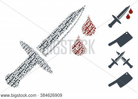 Vector Blood Knife Collage Is Composed Of Random Recursive Blood Knife Pictograms. Recursive Collage