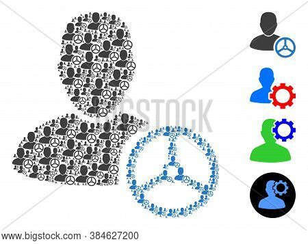 Vector Driver Man Composition Is Created With Random Recursive Driver Man Icons. Recursive Compositi