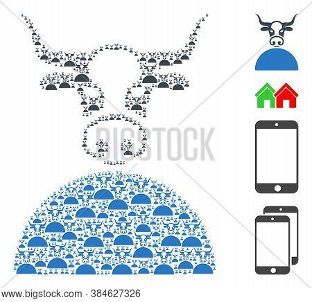 Vector Cow Composition Is Composed From Scattered Self Cow Icons. Fractal Composition Of Cow. Some O