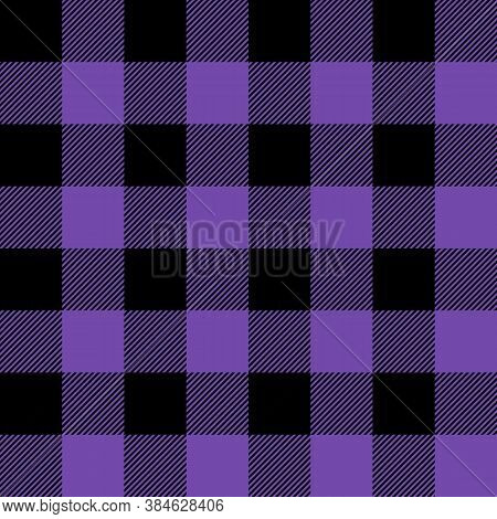 Tartan Royal Purple Plaid. Scottish Pattern In Black And Purple Cage. Scottish Cage. Traditional Sco