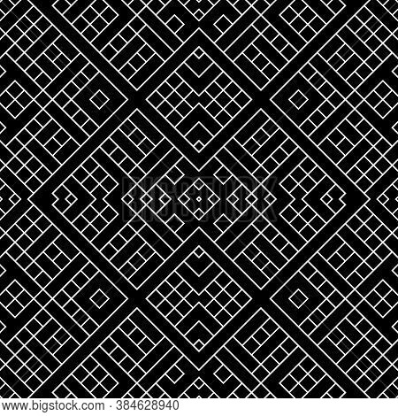 Seamless Surface Pattern Design With Ethnic Ornament. Repeated White Ornamental Shapes Composition.