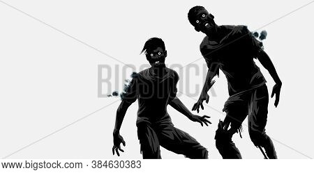 A Couple Of Hungry And Dangerous Zombie Characters Out Hunting. Vector Illustration