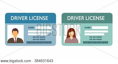 Renew Driver License Concept Vector Illustration On White Background. Two Driver Licenses Of Man And