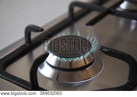 Kitchen Gas Cooker With Burning Fire Propane.