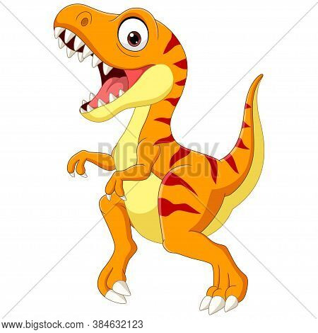 Vector Illustration Of Cartoon Tyrannosaurus Isolated On White Background