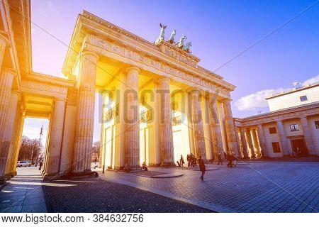 Berlin, Germany - March 24, 2017: People Admire Brandenburg Gate (brandenburger Tor) In Berlin In La