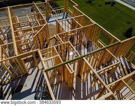 New House Under Construction Exterior Framing With Timber Framing, Truss, Joist, Beam Close-up