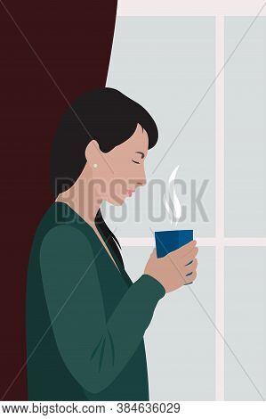 White Woman With Black Hair In Green Cardigan Holding Cup With Hot Drink Near Window, Stock Vector I