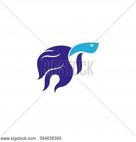 Aquatic Beautiful Betta Fish Aquarium Simple Logo