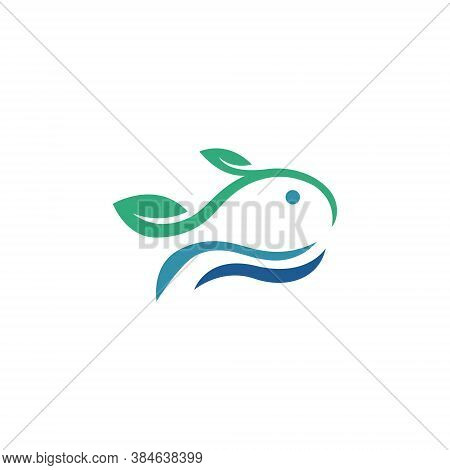 Aquatic Fish Abstract Simple Nature Leaf Logo