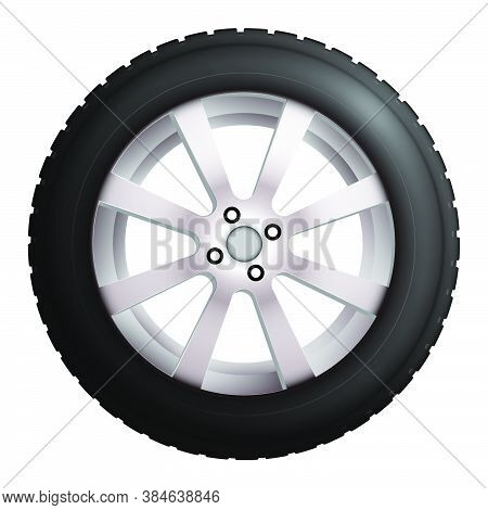 Wheel With Tire And Winter Rubber Tread. Winter Tires For The Car. Driving On Slippery Road. Driving