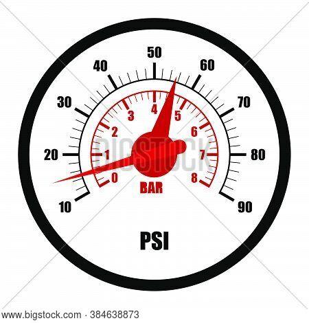 Car Pump Pressure Gauge Dial. Car Tire Pressure. Road Safety. Vector