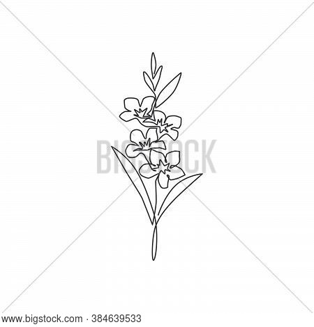 Single Continuous Line Drawing Of Beauty Fresh Evergreen Jasmine Flower For Home Wall Decor Art Prin