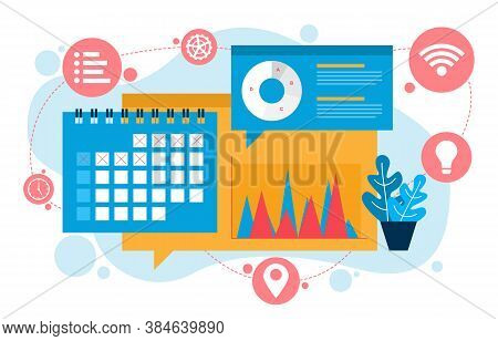 Calendar Digital Marketing Commerce Mobile Web Analysis Design Illustration