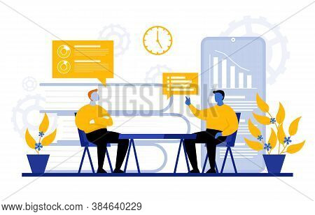 Man Sitting On Chair Digital Marketing Commerce Internet Analysis Illustration