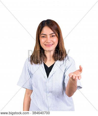 Woman Showing Open Hand For Product Or Something Portrait On White Background