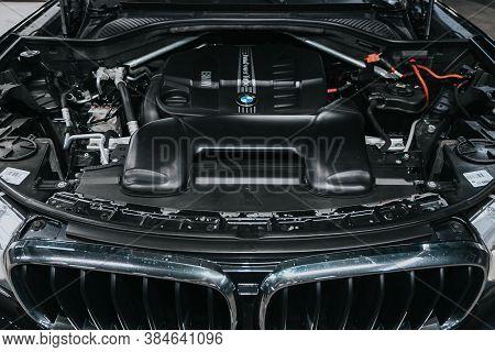 Novosibirsk, Russia - September 05, 2020: Bmw X5, Close Up Of A Clean Motor Block. Internal Combusti
