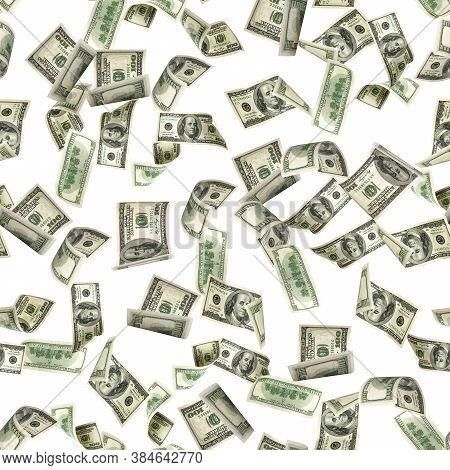 Money Seamless Pattern Isolated On White. American Money. Washington American Cash, Usd Background.