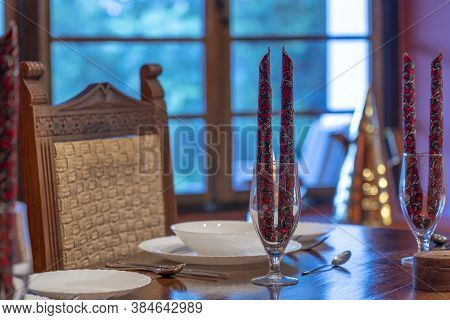 Served Dinner Table In A Restaurant. Cozy Restaurant Table Setting.
