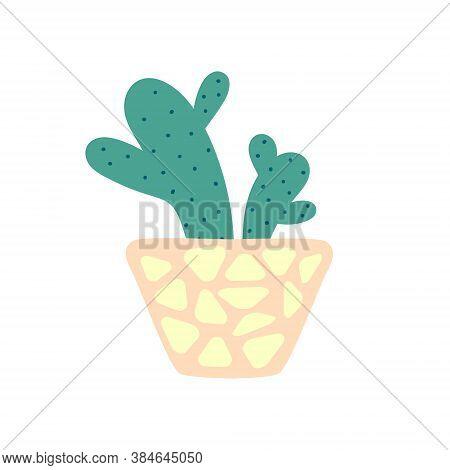 Mexican Cactus In A Pot. Prickly Cartoon Cactus. Decorative Indoor Plant In A Pot. Flat Vector Illus