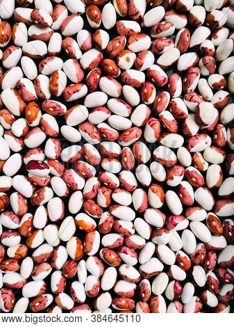 Motley Beans, Raw Beans, Textured Background With Beans