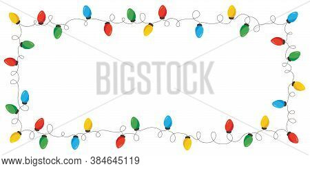 Vector Retro Colorful Holiday Christmas And New Year Intertwined String Lights Rectangular Frame On