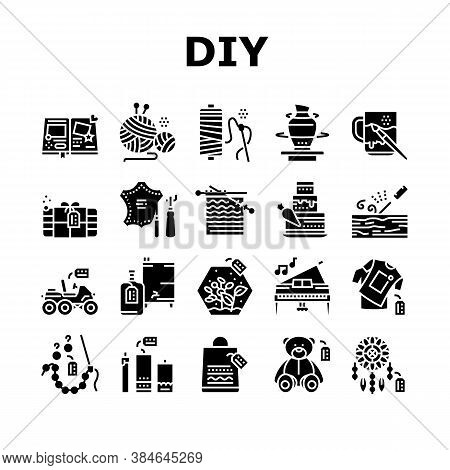 Diy Crafts Handmade Collection Icons Set Vector. Diy Crafts Soap And Clothes, Alcohol Drinks And Can