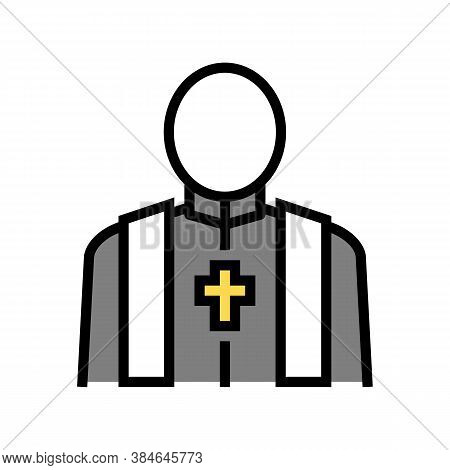 Priest Pastor Color Icon Vector. Priest Pastor Sign. Isolated Symbol Illustration
