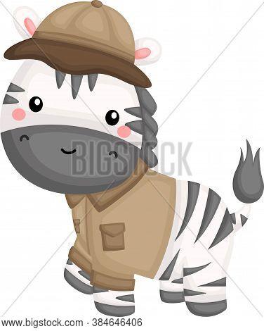 A Cute Vector Of A Zebra In Safari Ranger Costume