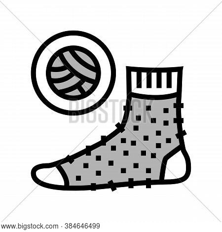 Wool Material Sock Color Icon Vector. Wool Material Sock Sign. Isolated Symbol Illustration